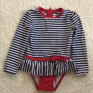 4T Long sleeve swimsuit  snap crotch back zipper